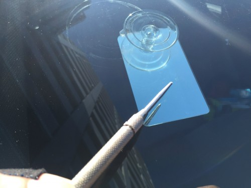インプレッサのフロントガラスの飛び石修理