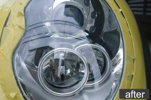 ミニのヘッドライト磨き